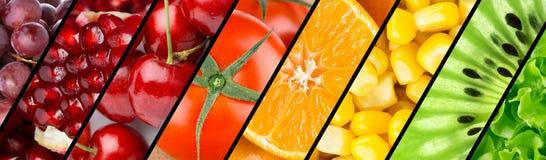 Raccolta con differenti frutta, bacche e verdure Fotografia Stock