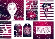 Raccolta con l'insegna di vendita di Black Friday Immagini Stock Libere da Diritti