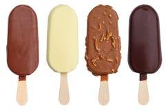 Raccolta coperta di cioccolato di varietà di sapore del gelato su un bastone Fotografia Stock Libera da Diritti