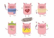 Raccolta creativa dei maiali svegli per i nuovo 2019 anni illustrazione di stock