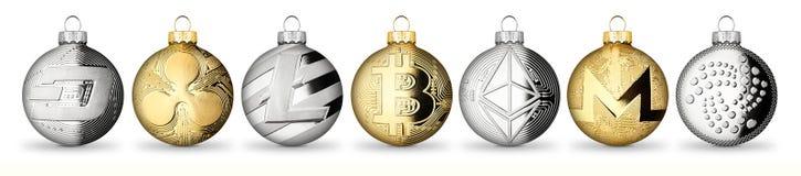 Raccolta cripto g dell'insieme della bagattella della palla di natale di natale della moneta di valuta immagini stock