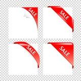 Raccolta d'angolo rossa di vendita Nastri di affari sugli ambiti di provenienza bianchi Fotografie Stock