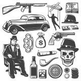 Raccolta d'annata degli elementi del gangster royalty illustrazione gratis
