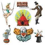 Raccolta d'annata del circo dei pantaloni a vita bassa con il carnevale, fiera di divertimento Fotografie Stock