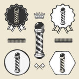 Raccolta d'annata dell'etichetta dell'emblema di simbolo del palo del barbiere Fotografia Stock Libera da Diritti