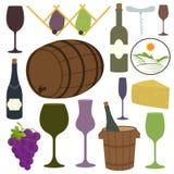 Raccolta d'annata delle icone del vino Fotografia Stock Libera da Diritti