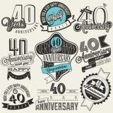 Raccolta d'annata di anniversario di stile 40 Fotografia Stock Libera da Diritti