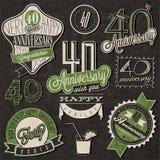 Raccolta d'annata di anniversario di stile 40 Immagini Stock