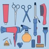Raccolta degli accessori di lavoro di parrucchiere del disegno illustrazione di stock