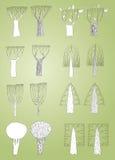 Raccolta degli alberi di lerciume in bianco e nero, con i profili Immagini Stock Libere da Diritti