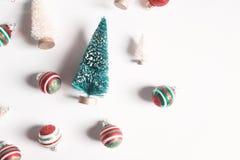 Raccolta degli alberi di Natale e degli ornamenti Fotografia Stock Libera da Diritti