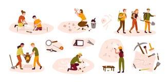 Raccolta degli archeologi maschii e femminili che scavano i manufatti storici dal sito archeologico, esaminante cave illustrazione vettoriale