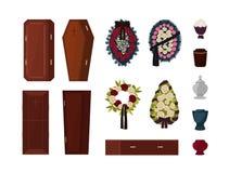 Raccolta degli attributi per il funerale, cerimonia di sepoltura, rituali mortuari isolata su fondo bianco - bara, urna illustrazione di stock