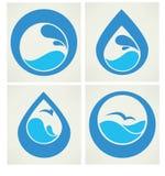 Raccolta degli autoadesivi dell'acqua Fotografia Stock
