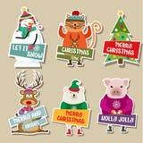 Raccolta degli autoadesivi di Natale royalty illustrazione gratis