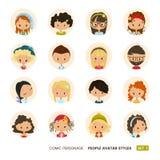 Raccolta degli avatar della gente Insieme delle icone dell'avatar dei pantaloni a vita bassa Personaggi comici Immagini Stock