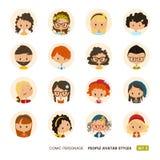Raccolta degli avatar della gente Personaggio comico Ragazze e ragazzi Sguardo dei pantaloni a vita bassa Immagini Stock