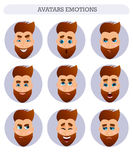 Raccolta degli avatar, emozioni, uomo barbuto Immagine Stock