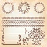Raccolta degli elementi decorati della decorazione della pagina Immagine Stock
