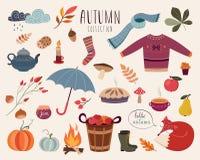 Raccolta degli elementi di autunno Fotografie Stock