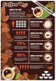 Raccolta degli elementi di infographics del caffè, vettore Immagine Stock