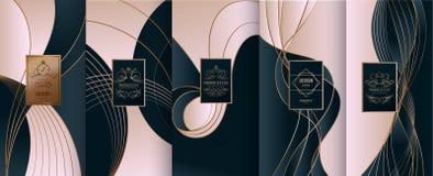 Raccolta degli elementi di progettazione, etichette, icona, strutture, per imballare, illustrazione vettoriale