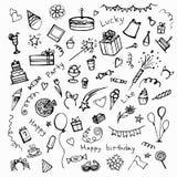 Raccolta degli elementi disegnati a mano della festa di compleanno Fotografie Stock