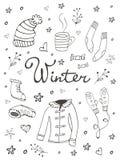 Raccolta degli elementi grafici relativi di inverno disegnato a mano Fotografie Stock Libere da Diritti