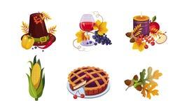Raccolta degli elementi tradizionali di festa di giorno di ringraziamento, simboli di autunno, illustrazione di vettore illustrazione di stock