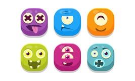 Raccolta degli emoticon luminosi dei bottoni con differenti emozioni, illustrazione di vettore dei mostri di emoji illustrazione vettoriale