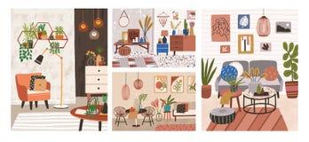 Raccolta degli interni con mobilia comoda alla moda e le decorazioni domestiche Pacco dei saloni accoglienti o degli appartamenti illustrazione di stock