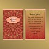 Raccolta degli inviti o delle carte con l'ornamento rotondo della mandala Immagini Stock