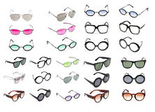 Raccolta degli occhiali da sole isolata su bianco Fotografie Stock Libere da Diritti