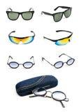 Raccolta degli occhiali da sole isolata su bianco Immagini Stock Libere da Diritti