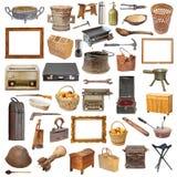 Raccolta degli oggetti d'annata isolati Immagine Stock