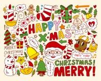 Raccolta degli oggetti delle icone di Natale Fotografia Stock Libera da Diritti