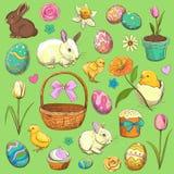 Raccolta degli oggetti di Pasqua Disegnato a mano Fotografie Stock Libere da Diritti