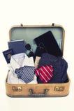 Raccolta degli oggetti di viaggio d'affari Fotografie Stock Libere da Diritti