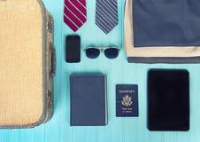 Raccolta degli oggetti di viaggio d'affari Fotografia Stock Libera da Diritti