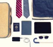 Raccolta degli oggetti di viaggio d'affari Immagini Stock