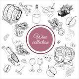 Raccolta degli oggetti differenti del prodotto vinicolo isolati su fondo bianco Schizzo monocromatico disegnato a mano royalty illustrazione gratis