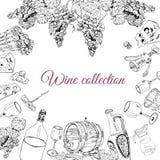 Raccolta degli oggetti differenti del vino Elementi disegnati a mano di schizzo isolati su fondo bianco royalty illustrazione gratis