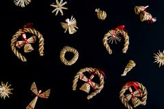 Raccolta degli ornamenti fatti a mano di Natale Fotografie Stock Libere da Diritti