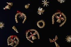 Raccolta degli ornamenti fatti a mano di Natale Fotografia Stock Libera da Diritti