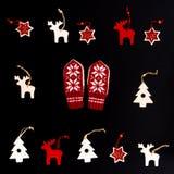 Raccolta degli ornamenti fatti a mano di Natale Immagine Stock
