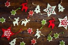 Raccolta degli ornamenti fatti a mano di Natale del feltro Fotografia Stock Libera da Diritti
