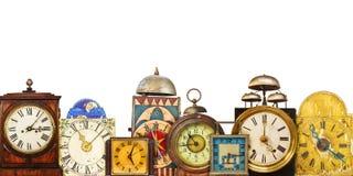 Raccolta degli orologi di tavola d'annata differenti Fotografie Stock