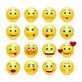 Raccolta degli smilies con differenti emozioni Fotografia Stock Libera da Diritti
