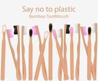 Raccolta degli spazzolini da denti di bamb? Dica no alle merci di plastica Spreco zero Illustrazione di vettore illustrazione vettoriale