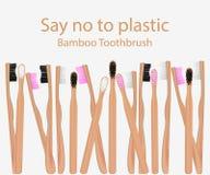 Raccolta degli spazzolini da denti di bamb? Dica no alle merci di plastica Spreco zero Illustrazione di vettore royalty illustrazione gratis